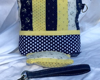 Nautical Zip Top Big Wristlet with Coin Purse