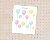 glossy balloon stickers - pink and blue party collection / cute decorative stickers for planners, journals and scrapbook