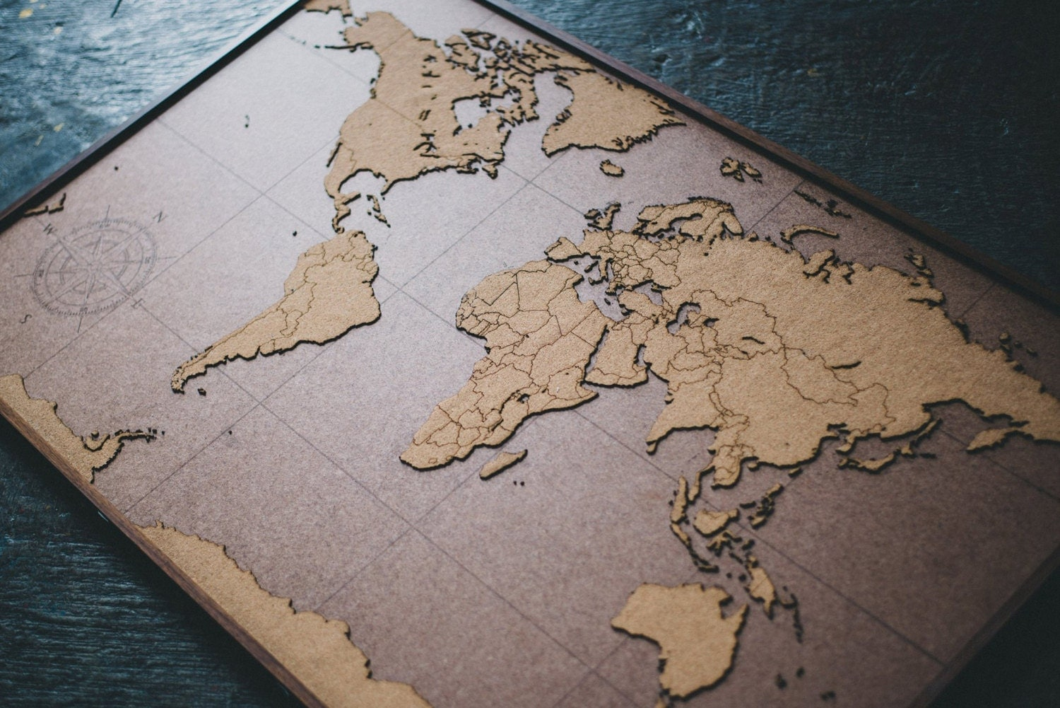 BIG Lasercut and Handmade Cork World Map Wall Art with Wood
