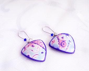 Cosmic earrings Cosmic jewelry Purple earrings Polymer clay Abstract earrings Space earrings for her Geometric earrings Shield earrings