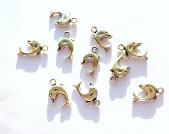 Dolphin charms x 10, Metal charms, Silver tone charms, Tibetan silver charms, Silver dolphin charms