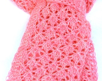 Hand-knit wool lace scarf