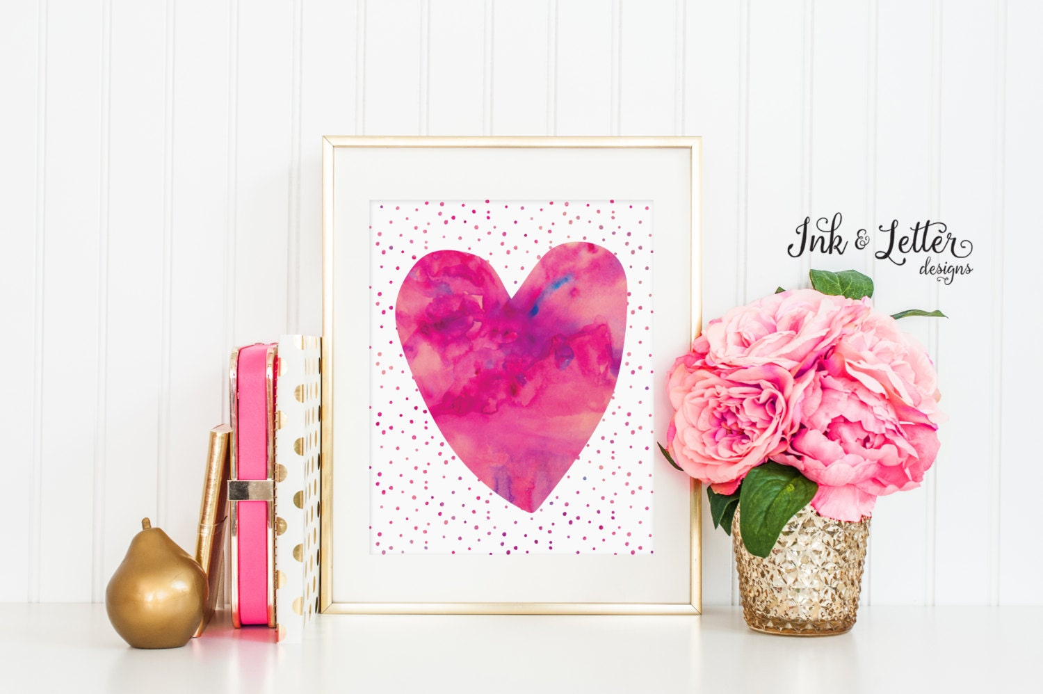 Heart printable hot pink wall art pink nursery decor for Pink wall art