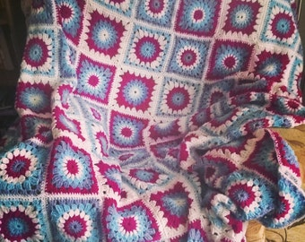 Crochet Blanket Sunburst Patchwork Granny Square Throw Afghan
