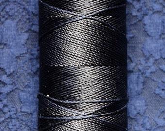 Deep night blue macrame cord bobbin. Waxed polyester thread spool. Linhasita. Art supply. 172 m / 188 yds, 1 mm thick (73)