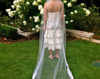 Limited Chapel Length Veil from Vintage French Lace