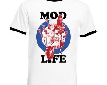 Mod Life Ringer T Shirt Mods Rockers Scooter Roundel Target Men's Constrast Tee