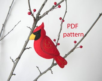 Christmas Cardinal easy to sew felt PDF pattern, Sewing PDF Pattern , Felt Bird, Plush Bird, Instant Download