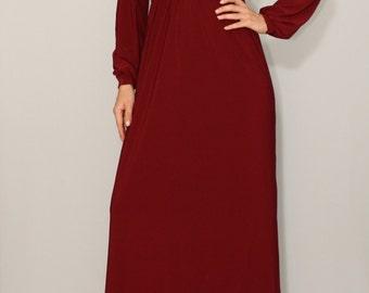 Burgundy dress Long sleeve dress Maxi dress Women