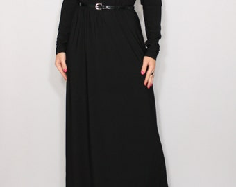 Women maxi dress Black dress Long sleeve dress Round neck dress Women