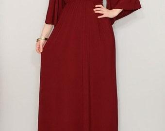 Burgundy dress Caftan dress Kimono dress Women Maxi dress