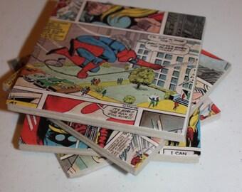 Comic book coasters - ceramic tile coasters set of 4