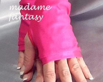 Neon pink spandex fingerless gloves