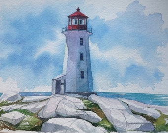 "Original watercolor painting ""Lighthouse Peggi's Point"" by Diakova Alisa"