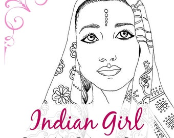 indian girl adult coloring book page ethnic art fashion coloring printable digital - Girl Indian Coloring Pages
