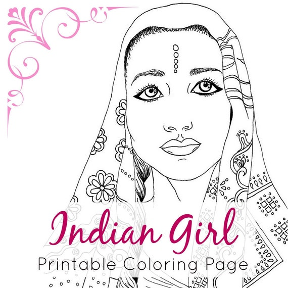Indian girl adult coloring book page ethnic art fashion for Girl indian coloring pages