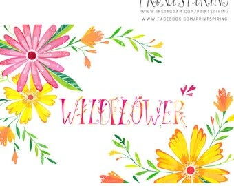 Floral Clipart | Painted Clip Art Set | Flower Clipart Set | Floral Clip Art Elements | Wildflower Clipart| Summer Spring Flower Graphics