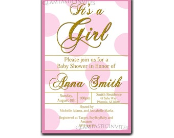 Pink and Gold Baby Shower Invitation, Baby Girl, Baby Shower Invitation, Baby Girl Shower, Pink Invitation, Classic Baby Shower, Sparkle