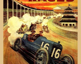 Car Auto Races Indianapolis 1914 Car Race Grand Prix Vintage Poster Repro FREE SHIPPING in USA