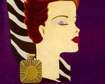 Cosmetics Fashion Perfume Lady  Vol de Nuit Guerlain France French Vintage Poster Repro Free S/H in USA