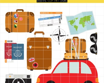 Time To Travel! Wanderlust, World Travel, Geography, Travel And Tours Digital Clip Art For Planner Stickers, Scrapbooking, Journal Art