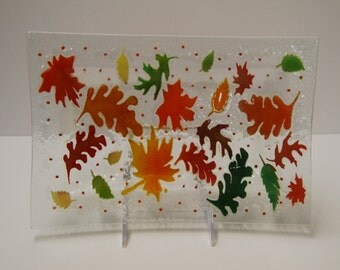 Fused art glass platter with fall design