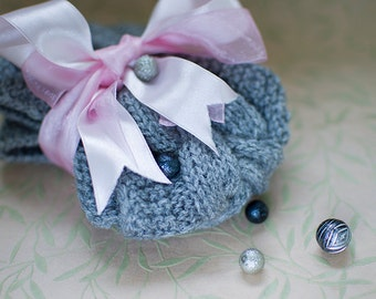 Cable knit earwarmer, wool knit earwarmer, grey cable knit earwarmer