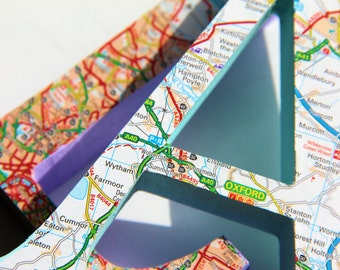 Map Letter Personalised   A-Z designs   13cm X 10cm X 2cm   Wooden Letter   Custom Map Location   Handmade   FREE UK Delivery