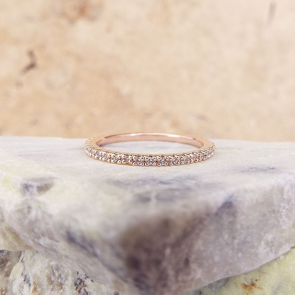 Half Eternity Rose Gold 1 mm  Band, CZ Diamond Ring Stacking Eternity Ring Micro Pave Ultra thin Wedding Anniversary Band Stacking Ring