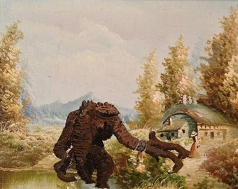FREE SHIPPING. Rancor ready to devour a victorian lady beside a cottage, Parody art. repurposed thrift store art. 8x10