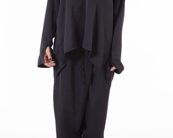 Long Black Shirt, Black Blouse, Oversized Shirt, Evening Clothing, Plus Size Blouse, Black Top, Long Sleeved Top, Extravagant Black Top