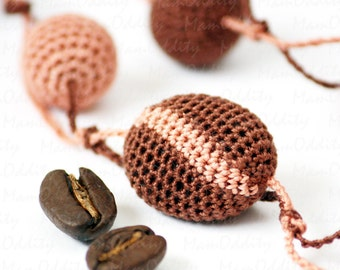 Coffee beans Coffee beads Coffee break Crochet necklace Cocoa color Caramel color Long necklaces Chocolate color Jewelry shop Coffee love
