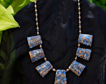 Necklace~Distinctive Blue and Gold Mosaic 18 inch Neclace