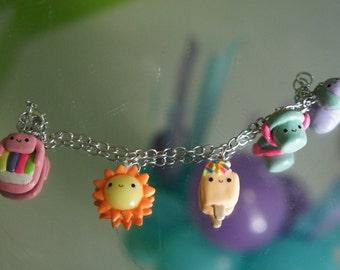 Cute Kawaii Summer Polymer Clay Charm Bracelet