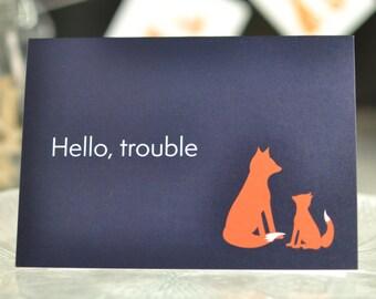 Fox and cub, greeting card