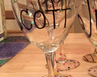 Personalized wine glass - stripes (block font)