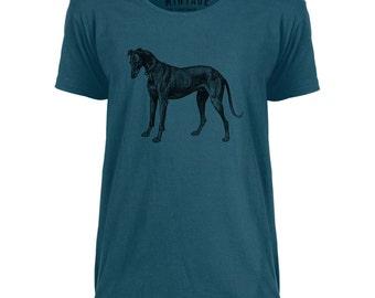 Mintage Greyhound Etching Mens Scoop Neck T-Shirt