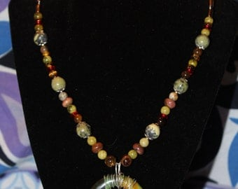 Handmade Beaded Necklace with Wire Wrapped Pendant