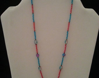 Cute and Fun Pink and Light Blue Girl's Necklace