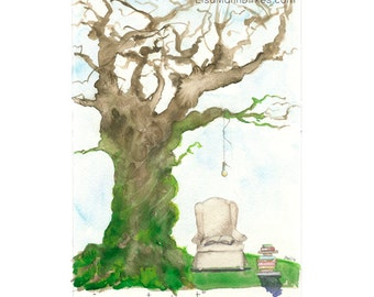 Get Lost Tree - limited edition giclee print of an original watercolor by Lisa Mann Dirkes