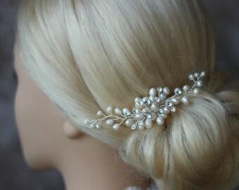 bridal hair comb, pearl and rhinestones, Perlenkamm, brautkamm, Kammgesteck, bridal hairpiece, pearl hair comb