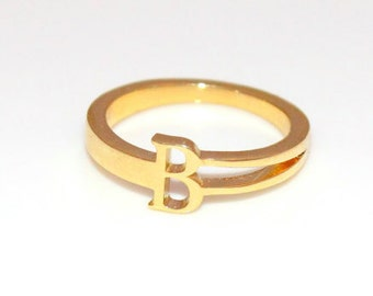 Personalized gold ring, Solid 14k gold ring, Custom gold ring, Gold letter ring, Engraved gold ring, Personalized name ring, 14k gold ring