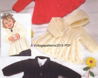 Coat Knitting Pattern  0 Months - 6 Years Chunky  PDF Download