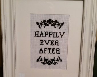 Framed Cross Stitch Happily Ever After