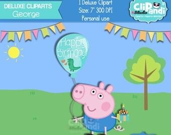 INSTANT DOWNLOAD|| George (Peppa Pig)[[ 1 ITEM ]] ||One-Of-A-Kind||- Transparent background 300 Dpi
