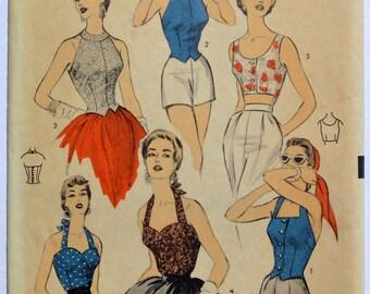 Vintage Advance 6689 Sewing Pattern Women's Halter Top 1950's