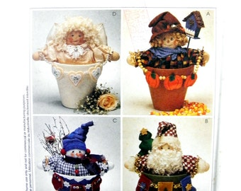 Simplicity Crafts 9449 Seasonal Flower Pot People: Holiday, Christmas, Halloween Table Decorations Uncut, Factory Folded Sewing Pattern