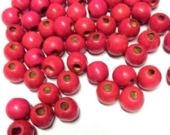 8 mm Pink Wood Beads - Hand Colored Wooden Beads -  40pcs
