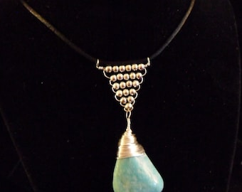 Amazonite Wire-wrap Necklace with Black Satin Cord