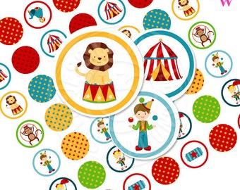 Fun Time Circus Printable 1 Inch Circles, Bottle Cap Circles, Printable Circus Circles, Printable Candy Circles, Circus Party Printable
